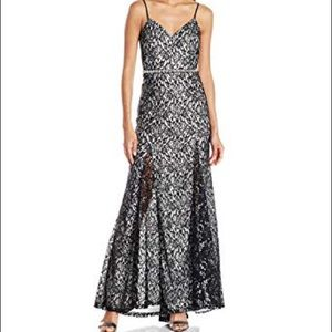 Sequin Hearts Backless Gown Black & White Lace